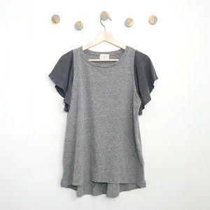 t.la Anthropologie Flutter sleeve shirt gray | M